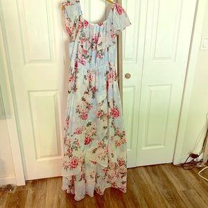 torrid Dresses - Blue floral chiffon hi-lo maxi dress